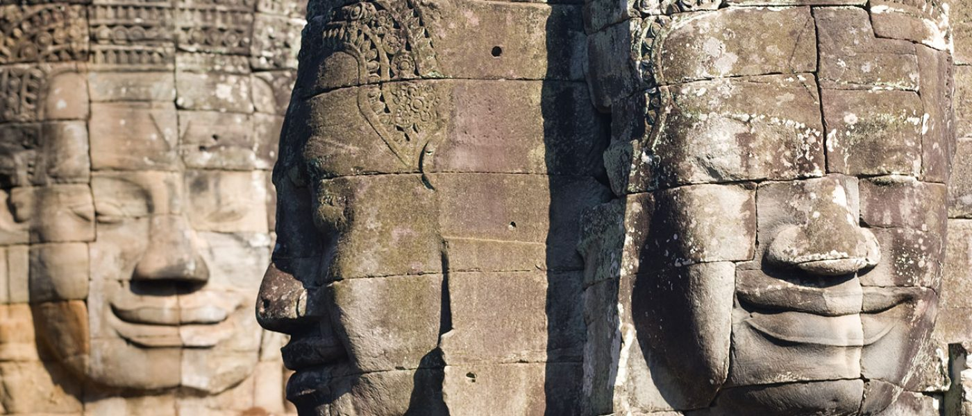 Faces on The Bayon, Angkor Thom, a temple in Cambodia