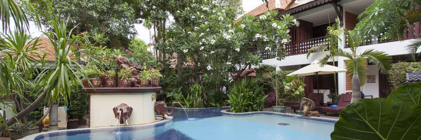 A beautiful hotel pool in Siem Reap, Cambodia
